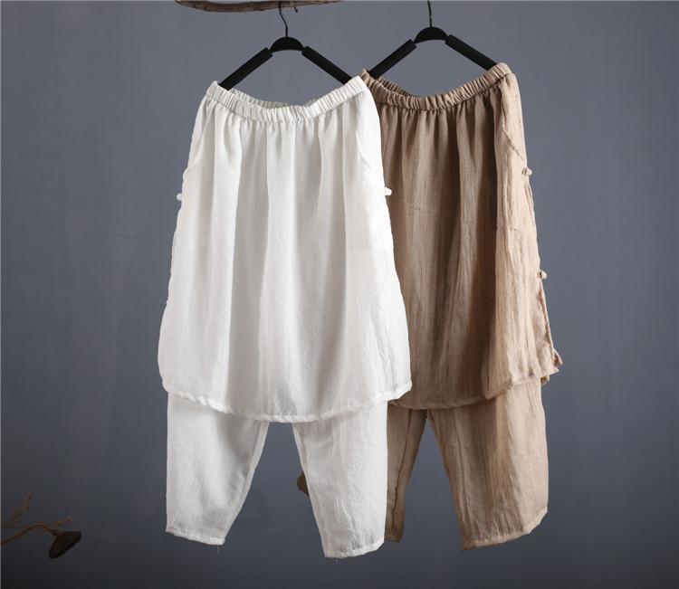 pant   wonen girk Retro disc buckle thin cotton double   wide     leg     pants