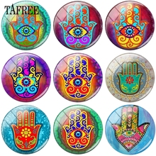 TAFREE Retro Zan Buddhism Hand Picture 12- 20mm Glass Beads Cabochon Dome Pendant Settings Jewelry