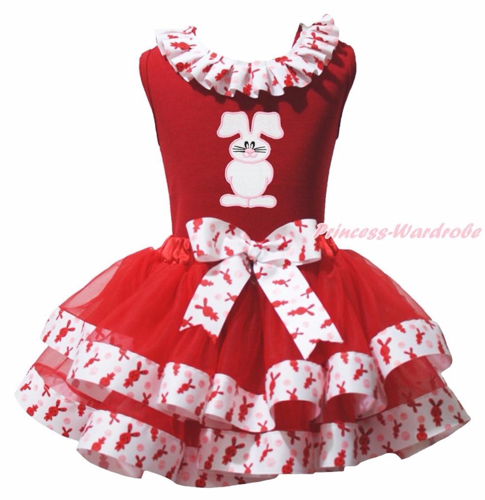 Easter Rose Bunny Rabbit Egg Train Minnie Red Top Shirt Rabbit Satin Trim Skirt Girls Pettiskirt Outfit NB-8Y hot pink top shirt camouflage lacing satin trim girl pettiskirt outfit set nb 8y mapsa0642