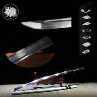 Ручной 1045 углеродистая Сталь глины закаленное меч самурая Катана Полный Тан острый край можно вырезать из бамбука