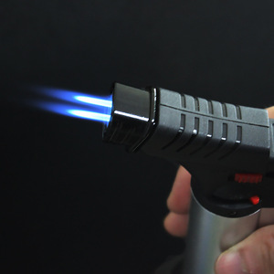 Image 2 - 바베큐 용접 토치 터보 라이터 제트 휴대용 스프레이 건 두 노즐 화재 windproof 시가 파이프 가스 라이터 1300 c 부탄 주방