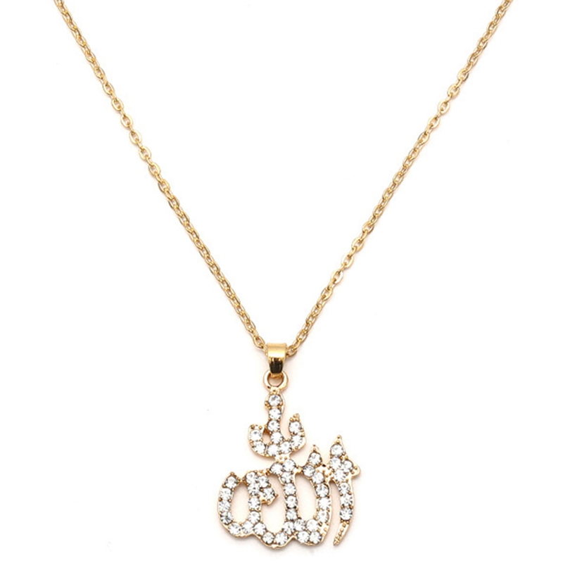Arabia Islamic Totem Allah Necklace Pendant For Women Silver Gold Color Muslim Chains Full Cubic Zirconia Inlaid