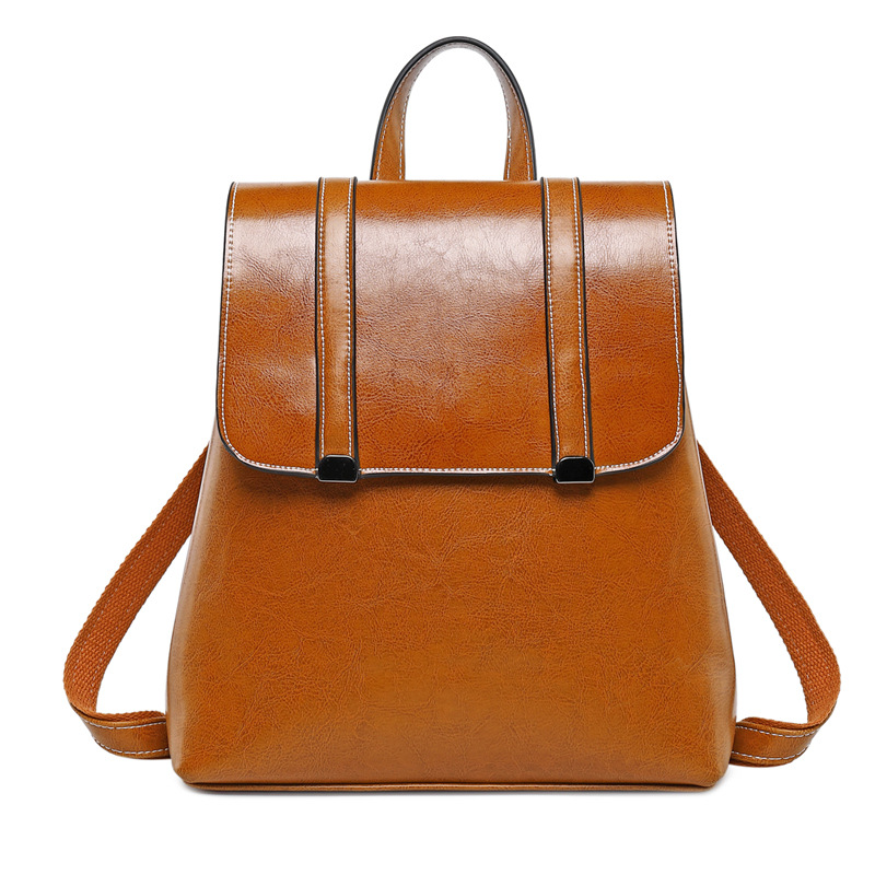 Women Oil Wax Cowhide Backpack School Daypack Cross Body Shoulder Bags Grils Fashion Genuine Leather Rucksack Travel Knapsack