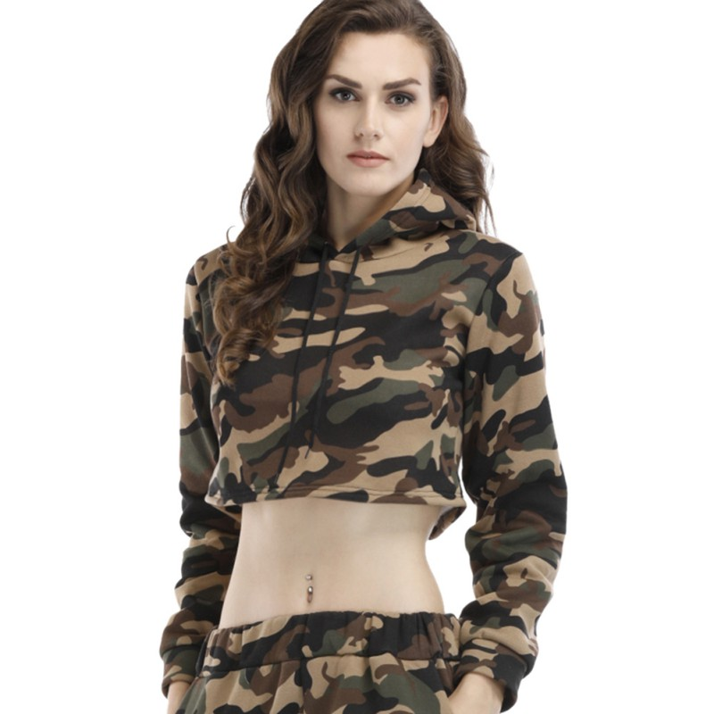 Camouflage plus velvet warm sweatshirt for women autumn winter hoodies female short pullovers hoodies fashion sexy top f1
