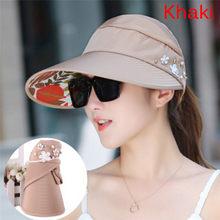 4ff179bfc5c 1PC UV Protection Women Summer Sun Hats With Big Heads Wide Brim Beach Hat  Pearl Packable Sun Visor Hat Female Cap