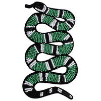 2piece Craft Beaded Green Black Snake Embroidery Iron on Patches Applique Clothes Decorated Craft Sewing Supplies TH785