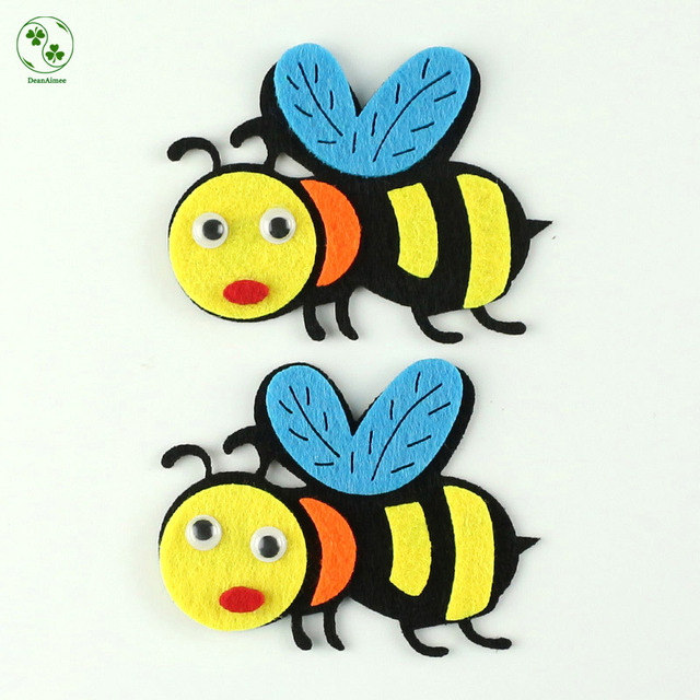 2pcs Big Handmade Felt Cartoon Bee Applique Patches Felt Craft Kids