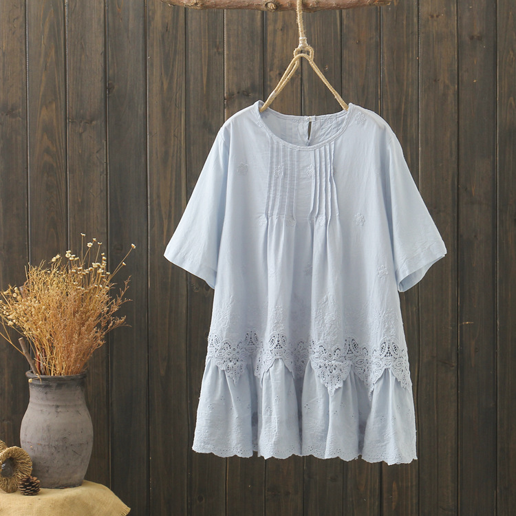 KYQIAO plus size women clothing mori girls summer Japanese style boho ethnic blue white embroidery lace patchwork   blouse     shirt