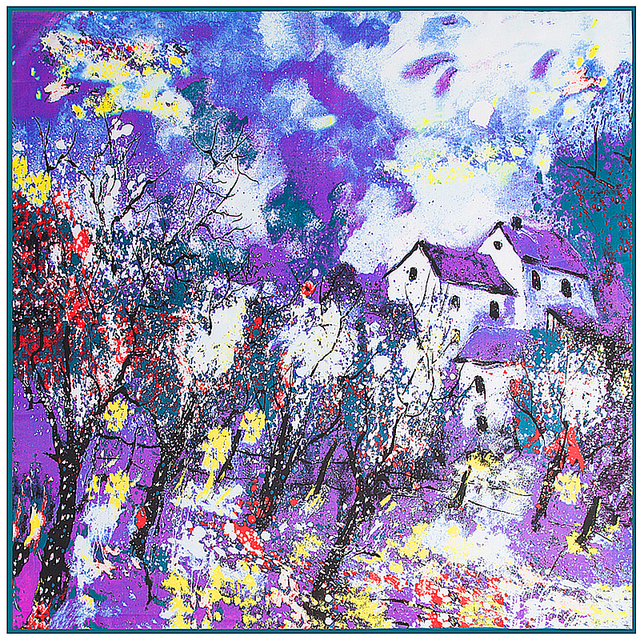 100cm*100cm 100% Twill Silk National Wind Oil Painting House and Autumn Tree Printed Women Square Silk Scarves Big Shawls