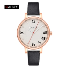 Gaiety Brand 2017 Hot Sale Fashion Casual Women Watches Rose Gold Dial Leather Strap Quartz Watch Dress Female Sport Clock G481