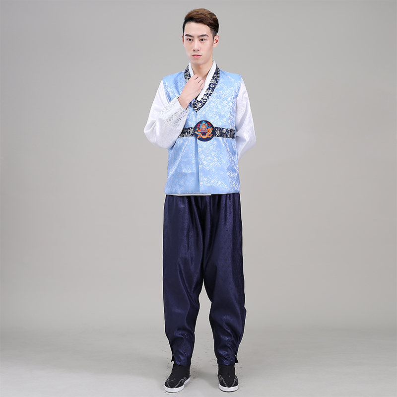 High Quality Men Korean Traditional Hanbok Male Oriental Stage Dance Costume Men Korea Hanbok Clothing Asian Ancient Cloithes 89
