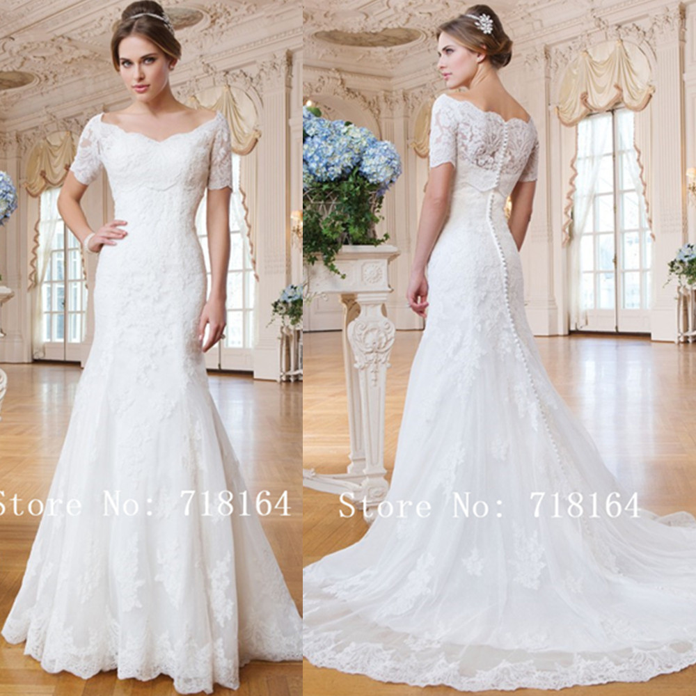 Romantic elegant long lace mermaid wedding dress with for Country western wedding dresses