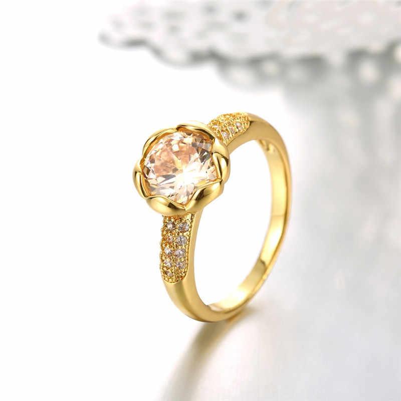 Bất 24 K Gold Filled Nhẫn Cưới Cho Phụ Nữ Lãng Mạn Hoa Có Hình Dạng Inlay 1.5 Carat CZ Diamant Engagement Ring Sỉ YR548