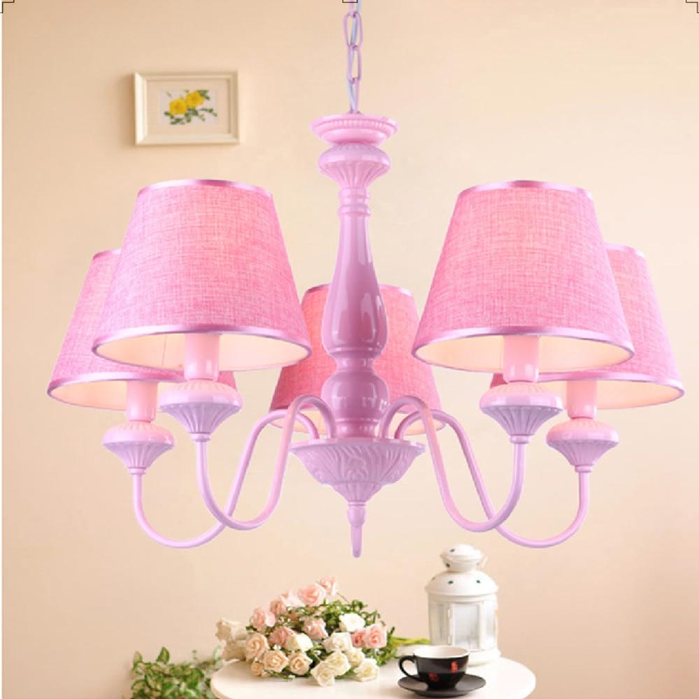 Us 188 0 childrens book room chandelier bedroom chandelier child girl pink princess chandelier led e27 110v 220v lamp ceiling lights in pendant