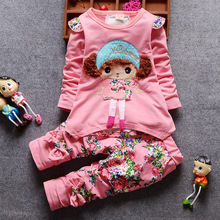 2018 Spring Fall Baby Girl Clothes New Cartoon Cute Doll Full Sleeved T-shirts + Floral Pants 2PCS Kids Bebes Jogging Sets