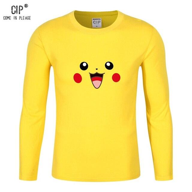100% хлопок мультфильм Покемон для детей Пикачу Enfant для мальчиков  футболка с длинным рукавом Bobo 48a7a8dd5ff9e