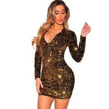 2019 new hot sequin dress sexy nightclub Slim V-neck shiny club party dresses