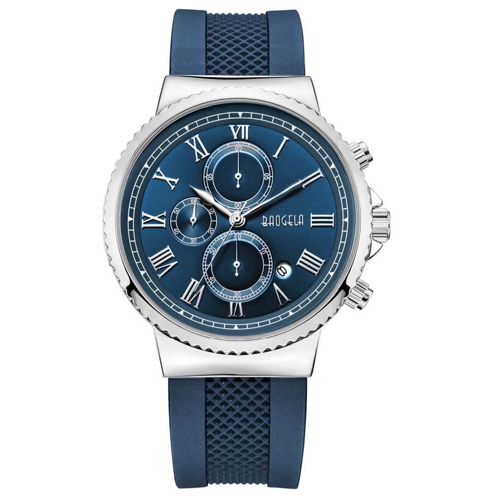BAOGELA TOP Brand Mens Luxury Quartz Watch Men Chronograph Sport Wristwatch Male Waterproof  Masculino Fashion Movement Blue