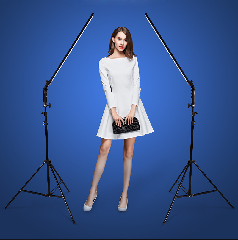 Photo Studio set 2x 60cm Handheld Dimmable LED Video Light + 2x Light Stand +2x AC Adapter for DSLR Camera Photo Model Live
