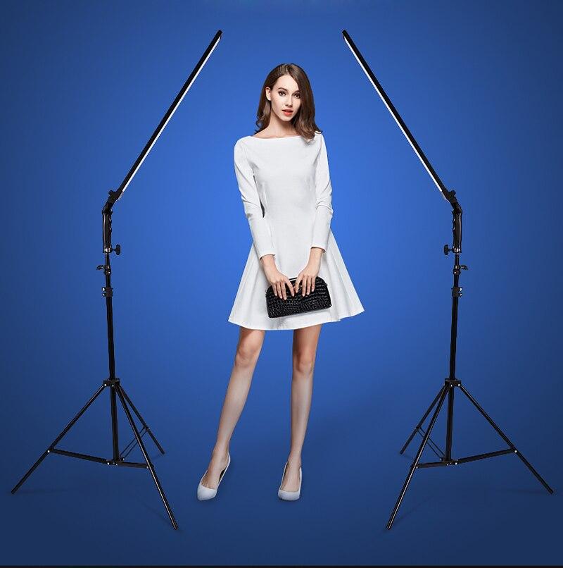 Photo Studio ensemble 2x60 cm De Poche Dimmable LED Vidéo Lumière + 2x Lumière Stand + 2x AC Adaptateur pour DSLR Caméra Photo Modèle en direct