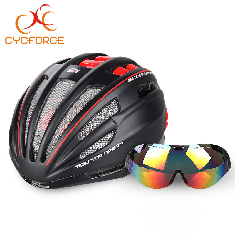 CYCFORCE Bicycle Helmet EPS Insect Net Road MTB Mountain Bike Windproof Lenses Integrally-molded Helmet Cycling Casco Ciclismo moon upgrade cycling helmet road mountain mtb bike bicycle helmet with insect net 52 64cm casco ciclismo