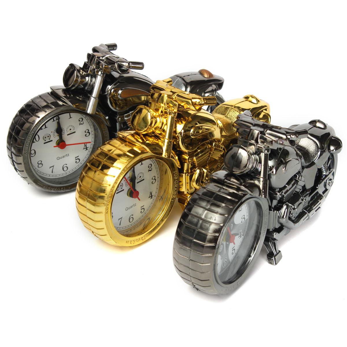 Charminer Plastic Motorcycle Motorbike Quartz Alarm Clock Home Household Furnishing Decor Gift Multi-color Jet Black Gold Lovely