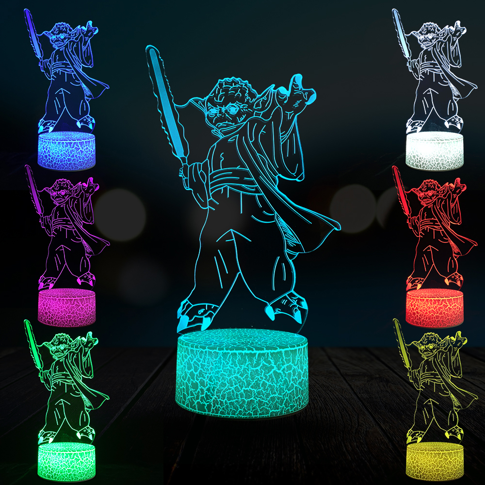 Yoda 3D Lamp RGB LED USB Mood Table Lamp Bedroom Night Light Multicolor Touch Remote Luminaria Crack Lava base Kids Boys Gift image