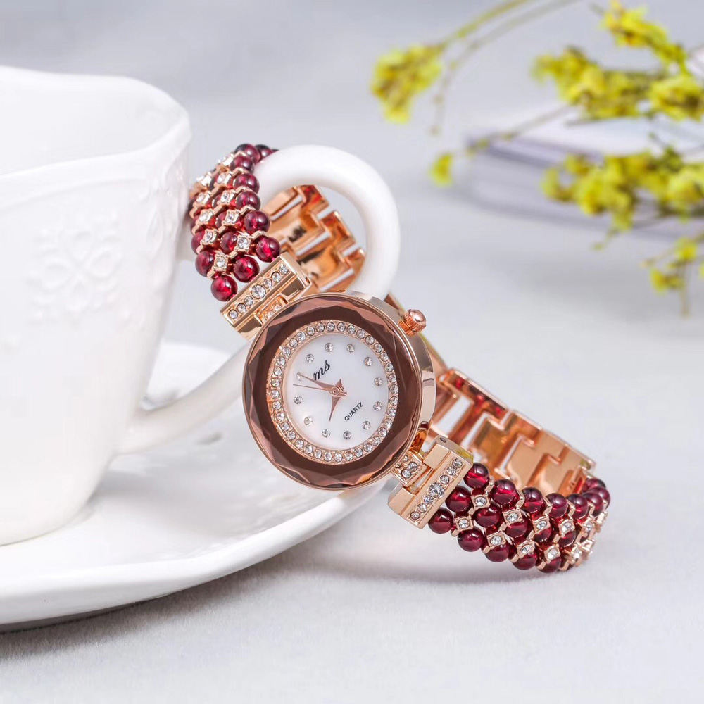 natural garnet stone beads bracelet 33mm watch DIY jewelry for woman for gift for summer beach