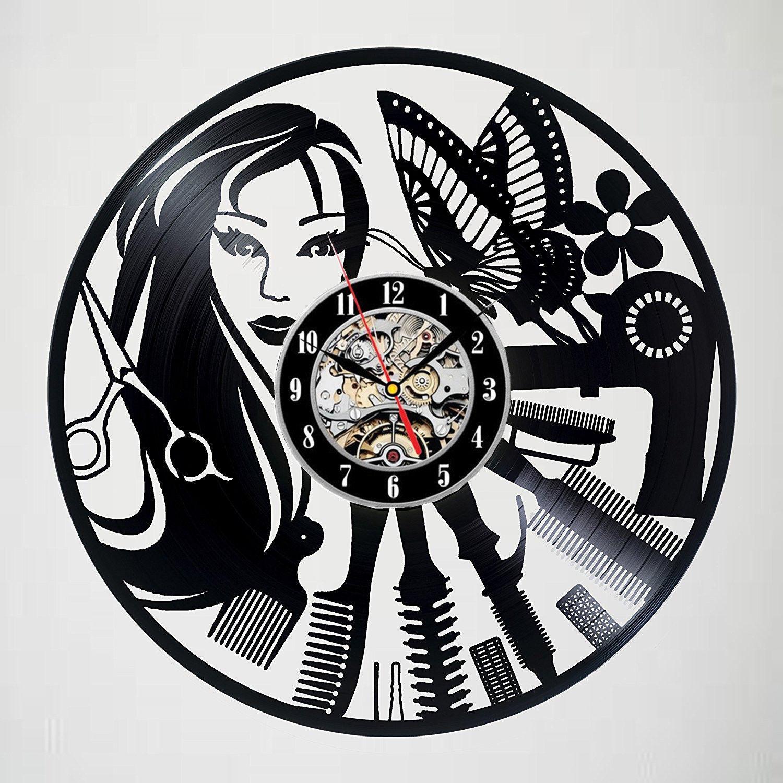Barber Shop Wall Clock Modern Design Hairdressers Clocks Hair Salon Vinyl CD Record Wall Watch Home Decor Silent 12 inch