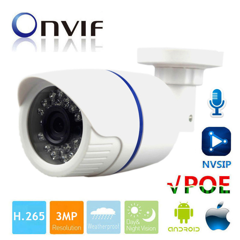 3MP IP Camera POE Audio 3MP Camera IP With External Microphone Pickup Outdoor Waterproof Bullet CCTV Camera bullet camera tube camera headset holder with varied size in diameter