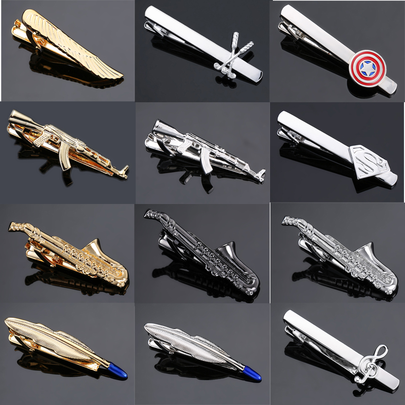 DY Fashion Men Business Sax Feather Wings, Gun Super Man Gold And Silver Tie Clip Free Delivery