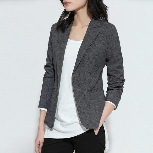 dc89caba943c 2018 New Fashion Spring Women Blazer Short Design Turn Down Collar Slim  Blazer Grey Short Jacket