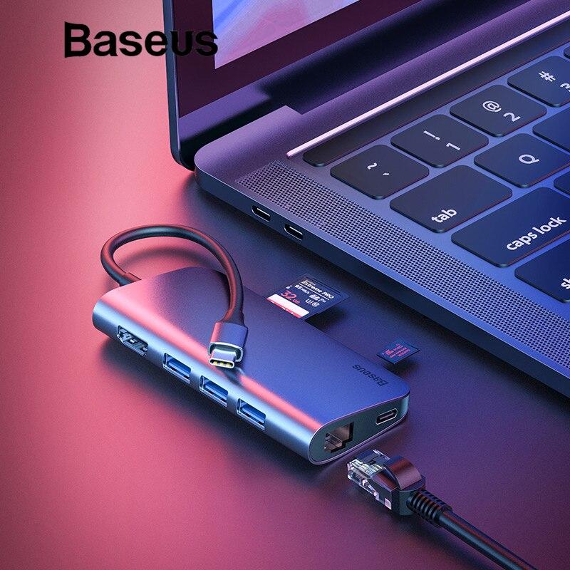 Baseus 8in1 USB tipo C HUB adaptador para MacBook Pro 3 Puerto USB 3,0/4 K HDMI/RJ45 /SD/TF lector de tarjeta/USB C divisor OTG HUB