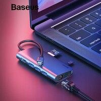 Baseus 8in1 USB Type C Adapter HUB for MacBook Pro 3 USB 3.0 Port / 4K HDMI / RJ45 / SD TF Card Reader / USB C Splitter OTG HUB