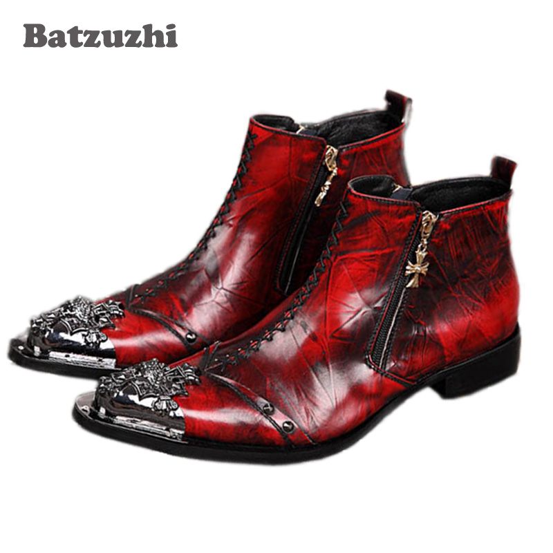 Batzuzhi Italian Style Men Shoes Metal Toe Ankle Boots Men Luxury Wine Red Gneuine Leather Party, Wedding, Runway Short Boots