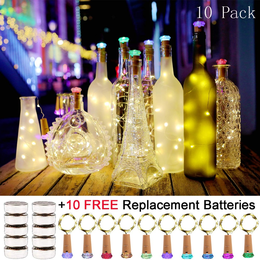Wine Bottle Lights With Cork 10 Pack Battery Operated LED Shape Silver Light