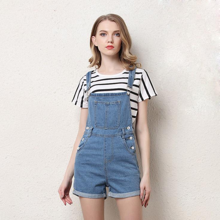 New Girls Short Denim Jumpsuit Romper Women Spring Summer Overalls Casual Jeans Short Playsuits Plus Size S 4XL