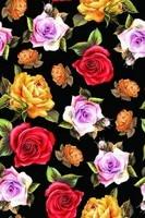 Super Hollandais Woven Fabric Heavy Silk Satin Material For Clothing Shirt Blouse Dress Black botton Rose Prints Fabrics Textile