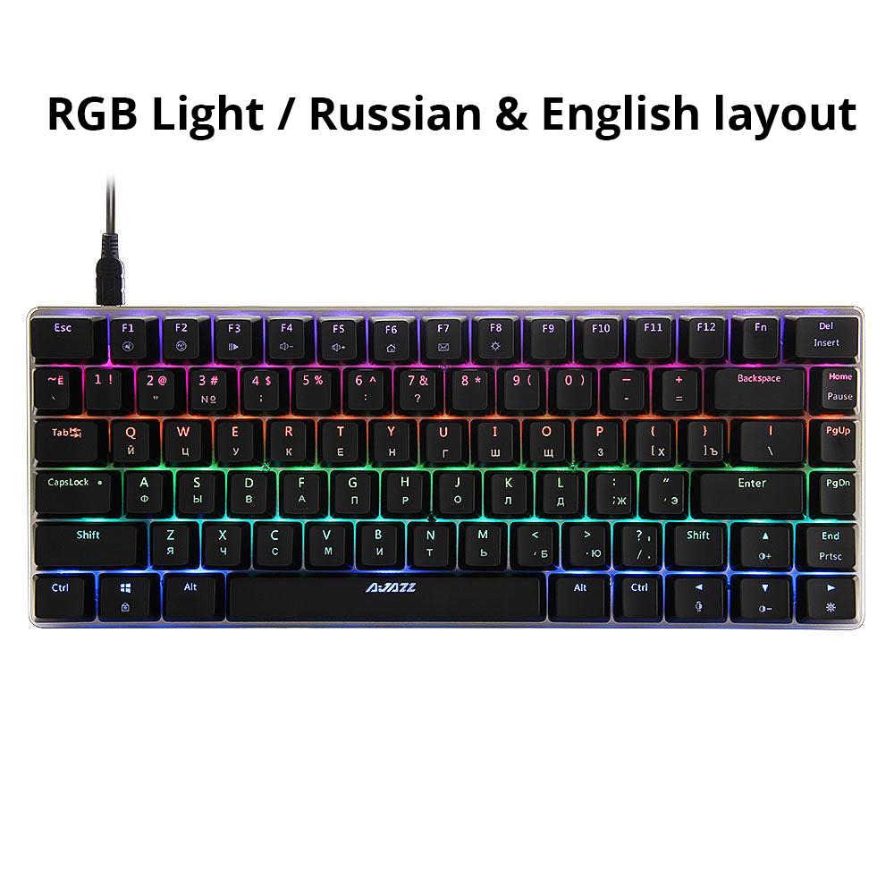 Ajazz AK33 82 مفاتيح لوحة المفاتيح الميكانيكية RGB الخلفية الروسية/الإنجليزية تخطيط ، الأزرق/الأسود التبديل الألعاب لوحة المفاتيح ألعاب الكمبيوتر