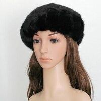 2016 Real Piece Mink Fur Berets Hats Autumn Winter Genuine Women Fur Caps Female Headgear Ear