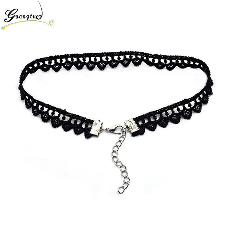 Punk Tattoo Black Elastic Hollow Flower Lace Chokers Necklace For Women Fashion Jewelry Harajuku Punk Short