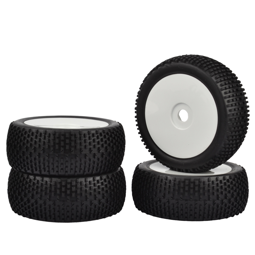 4pcs RC 1/8 Off-Road Car Buggy 17mm Hub Wheel Rim & Tires 1/8 Buggy black Rubber tires off road white wheels rc car model off road buggy tires and wheel rim 25026 27013 for hsp hpi 1 10 rc buggy car toys accessories