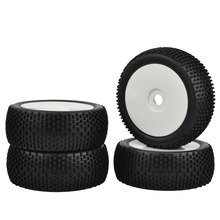 4pcs RC 1/8 Off-Road Car Buggy 17mm Hub Wheel Rim & Banden 1/8 Buggy zwart Rubber banden off road witte wielen(China)
