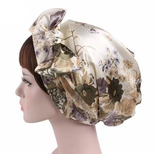 Image 2 - New Style Women Hats Floral Turban Hat Cap Muslims Cap Flower Bonnet Beanie Arab Amira Headwear Satin Turban Islamic Bow Cap New