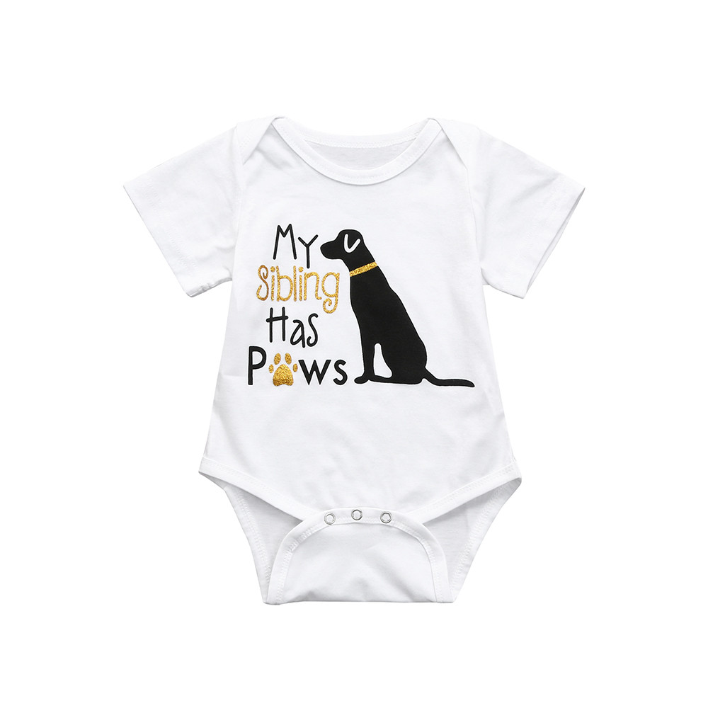 Cotton Toddler Infant Baby Boys Girls Short Sleeve Cute Dog Romper Jumpsuit Clothes Outfits Kids Clothes