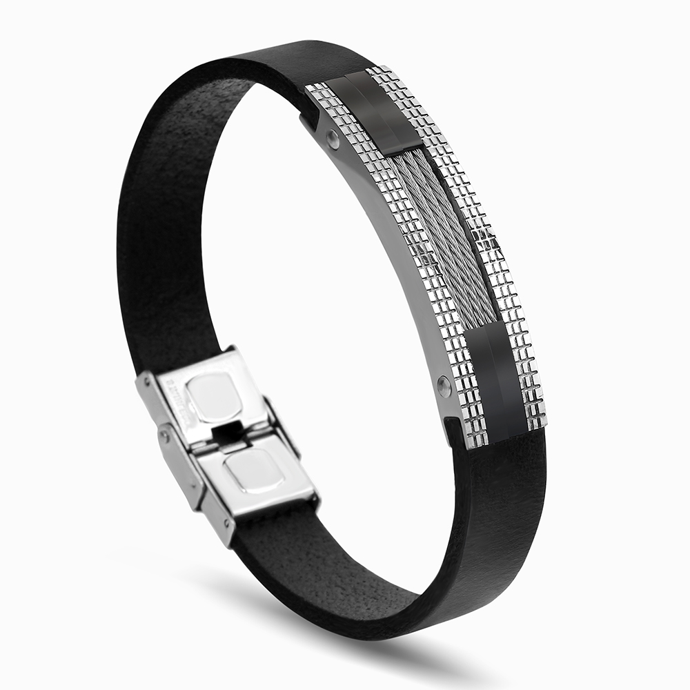 Men Bracelet Silver Gold-Color Stainless Steel Charm Black Leather Sports Wristband Bracelets For Men Jewelry
