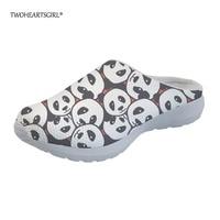 Twoheartsgirl Printing Animal Panda Women Home Slipper Novelty 3d Teen Girls Women Summer Beach Sandals Breathable Mesh Slippers