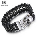 Kalen Men's Woven Leather Bracelet Punk 316 Stainless Steel Huge Skull Head Bracelet Bangle Rock Jewelry Male Rock Accessories