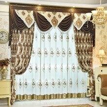 Chenille Jacquard de luxo Europeu clássico bordado sombra cortinas decorativas para Sala de estar/Quarto cortinas