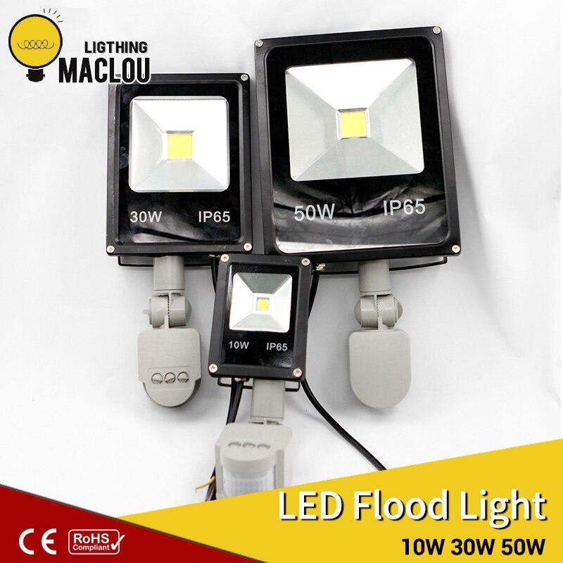 LED Flood Light Outdoor ip65 220V 10w 30w 50w LED Lamp Infrared Floodlight With Pir Motion Sensor Garden LED Reflector Spotlight